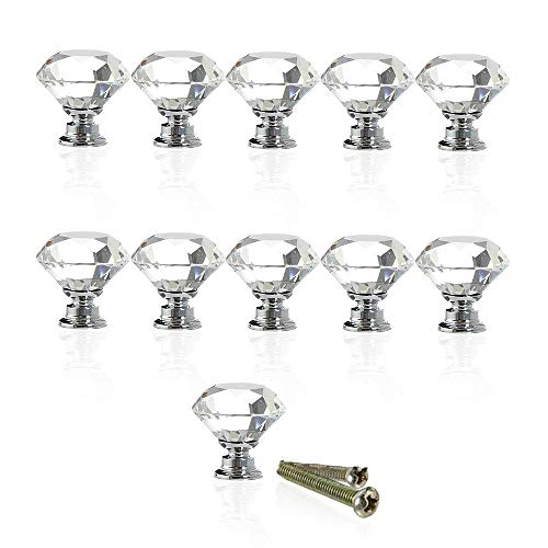 Hewnda 10pcs Drawer knob Diamond Shaped Crystal Glass 30mm Drawer knob Pull Handle for Drawer Bedside Table Dresser and Chest -