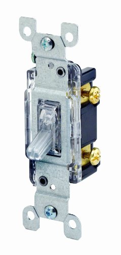 Leviton 1461-LHC 15 Amp, 120 Volt, Toggle Lighted Handle, Illuminated Off Single-Pole AC Quiet Switch, Residential Grade, Grounding, Clear (Type Toggle Plate Wall)