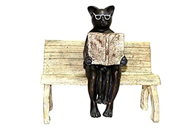 "Literary Cat Reading Story Book Statue - Bookworm Cat With Glasses Collectible - Reading Cat and Kitten Figurine - (8""x5""8.5"")"