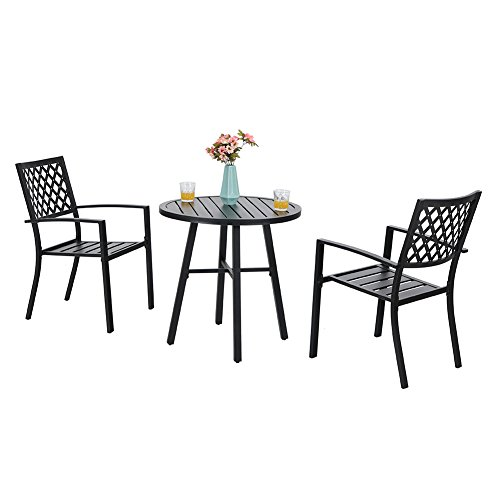 PHI VILLA Patio Metal 3 Piece Bistro Chairs and Table Furniture Set - Black (Bistro Cheap And Chairs Table)