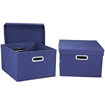 Amazon.com: Household Essentials Fabric Storage Boxes with Lids and Handles: Home & Kitchen