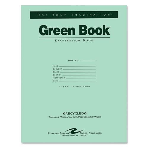 Roaring Spring Paper Prod. Exam Book, Wide Ruled, 8/Shts, 11''X8-1/2'', 50/Pk, Green