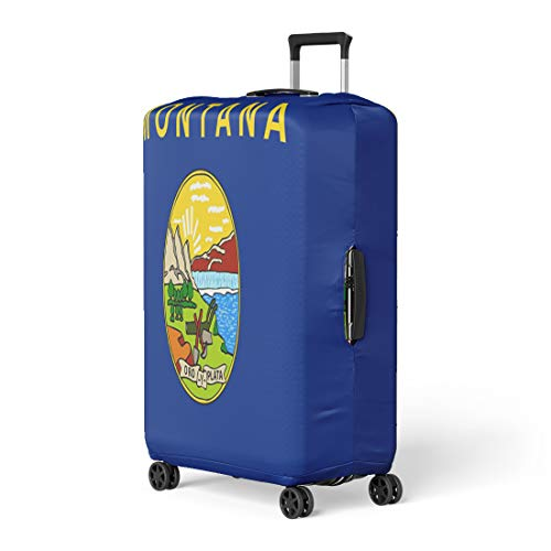 Pinbeam Luggage Cover Blue Abstract Flag of Montana State Symbol Yellow Travel Suitcase Cover Protector Baggage Case Fits 22-24 inches (Symbol Montana State)