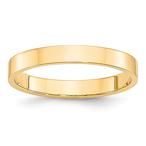 14k Yellow Gold 3mm Ltw Flat Wedding Ring Band Size 4.5 Classic Fine Jewelry Gifts For Women For Her