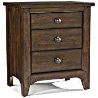 Intercon JK-BR-5003-RAI-C 3-Drawer Justine Nightstand in Rasin Finish