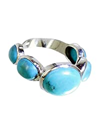 Jewelryonclick Oval Shape Turquoise Ring Real 925 Silver Cluster Style Birthstone Available in Size 4-12