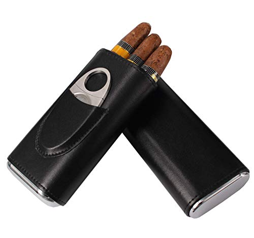 AMANCY Classic Black Leather 3 Fingers Cigar Case with Cedar Wood Lining,Silver Stainless Steel Cutter ()