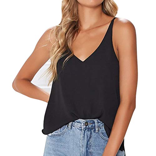 Fashion Cami Blouse Women Sexy Summer Solid V-Neck Sleeveless Tank Top Casual Tee (L, Black) ()