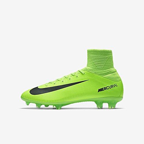 Nike Kids Mercurial Superfly V FG Electric Green/Black/Flash Lime Soccer Shoes - 4Y