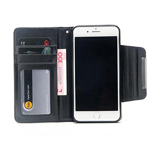 JIALUN-carcasa de telefono Hebilla de la aleta magnética 2 en 1 caso desmontable PU cuero Flip Stand cartera cubierta de la caja para el iPhone 7 Plus ( Color : Gold ) Purple
