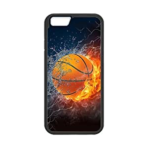 iPhone6 4.7 Case,Sports Basketball Powerful Fire And Water High Definition Wonderful Design Cover With Hign Quality Rubber Plastic Protection Case