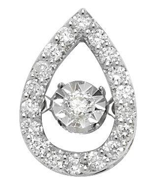 Pendentif diamant 0,25ct or blanc 9carats