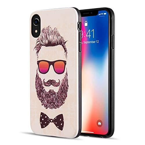 Beard Guy Themed iPhone XR Bearded Man Case Sunglasses Clean Cut Dude, TPU ()