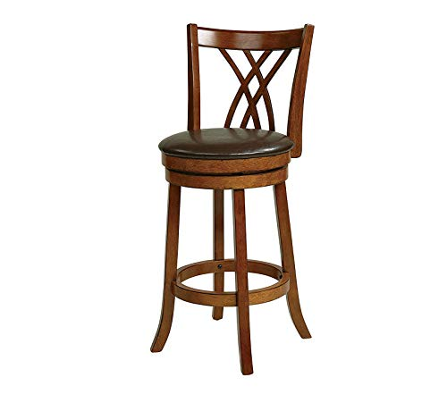 (Metro Faux Leather Seat and Back Round Swivel Barstool with Footrest and Walnut Finish Wood Frame, 30-Inch, Espresso )