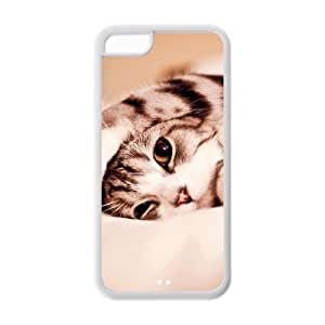 Fashion Carton cat Personalized iPhone 5C Rubber Silicone Case Cover by ruishername
