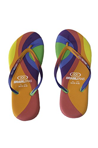 Brasileras Africa - Chanclas para mujer Multicolor / Naranja (Multi/Orange)