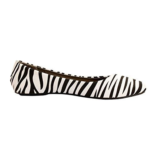Westbalv Frauen Casual Ballett Flat Zebra Wildleder
