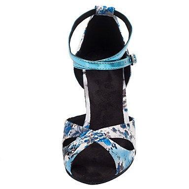 blue baile Salsa de Azul Personalizables Latino Personalizado Tacón Zapatos 8Zwvgnxx