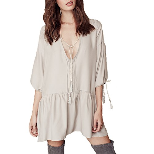 Womens Casual V Neck Loose Summer