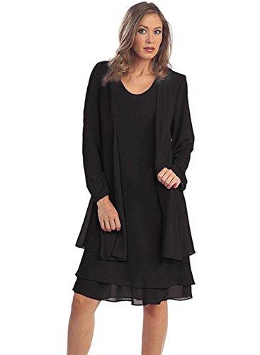 ihot Women 2 Pcs Set Chiffon Jacket Dress Mother of Bride Dresses Black (Black Mother Of The Bride Dresses With Jackets)