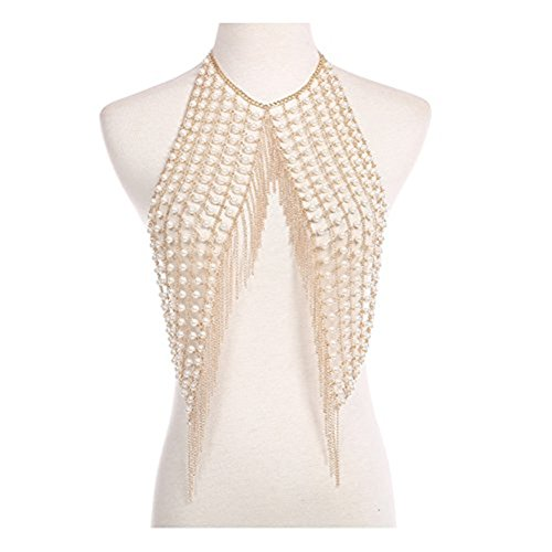 MineSign Sexy Chain Necklace Fashion Shoulder Necklaces Bra Body Jewelry Summer Beach Party Dress Gold Pearl by MineSign (Image #3)