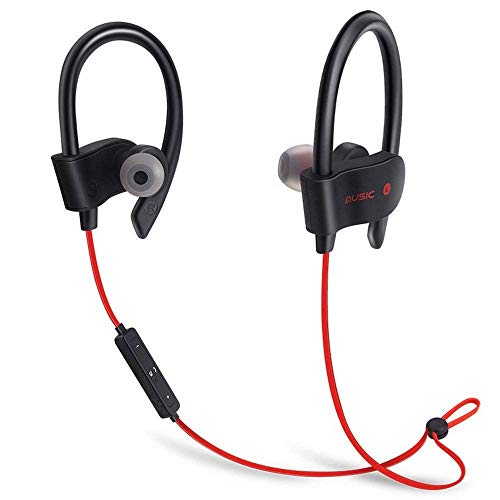 Newest 2019 Bluetooth Headphones,V4.2 Wireless Sports Earphones w/Mic IPX7 Waterproof HD Stereo Sweatproof in Ear Earbuds for Gym Running Workout 8 Hour Battery Noise Cancelling Headsets (Black-Red)