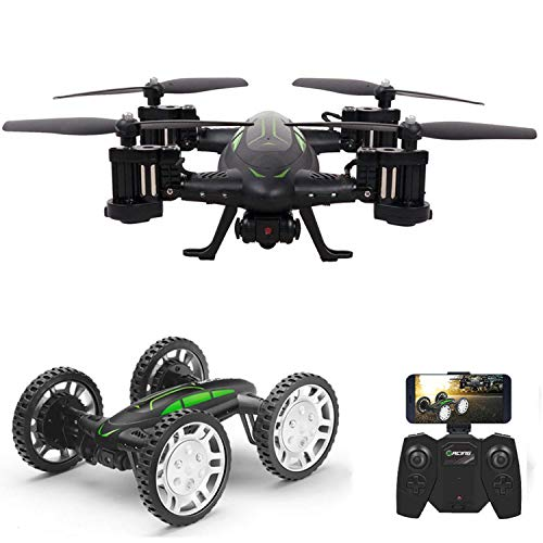 RC Flying Coche Drone con Cámara HD 2 en 1 Air-Road Double Model Juguetes, FPVRC Dron cuadricóptero 2.4GHz 4CH 6-Axis Gyro Remote Control Helicopter&Flying Car