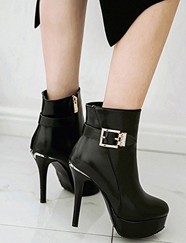 High Toe Elegant Women's Boots Stiletto Ankle Black Round Platform Heels Aisun HXIqw