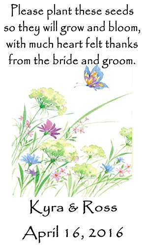 (Personalized Wedding Favor Wildflower Seed Packets Butterflies Flowers Design 6 verses to choose from)