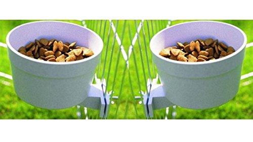 Cajou Napf-Set 850 ml (2 Stück) mit Halterung zum Anschrauben Hundenapf Futternapf Wassernapf für Zeinger, Welpenlaufstall, Welpengehege oder Transportkäfige passend Doppelnapf
