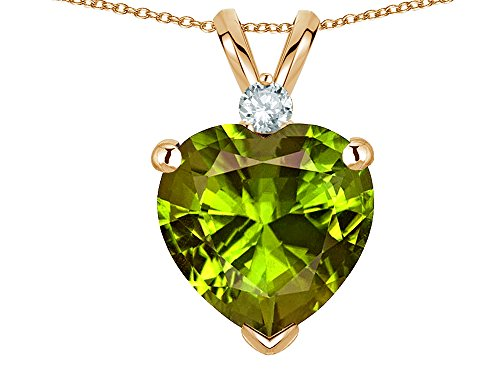 Genuine Peridot Heart Pendant - Star K 8mm Genuine Peridot Heart Pendant Necklace 14 kt Yellow Gold
