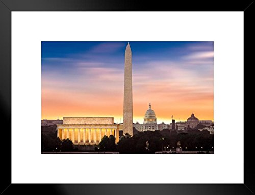 Poster Foundry New Dawn Over Washington DC Photo Art Print Matted Framed Wall Art 20x26 inch