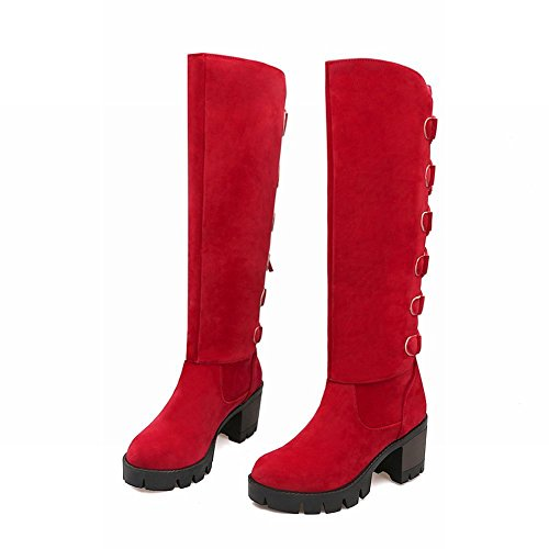Latasa Womens Tassel Lace up Chunky Heels Knee Boots Red Z6xp7