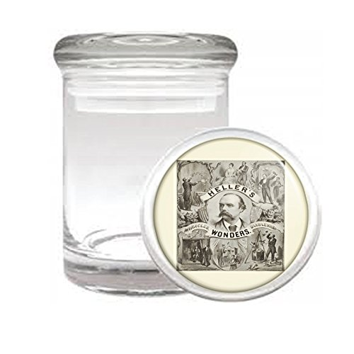 """Medical Glass Stash Jar Vintage Magic Magician Poster S6 Air Tight Lid 3"""" x 2"""" Small Storage Herbs & Spices"""