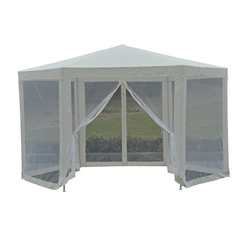 Gazebo Roof Construction - Outsunny Outdoor Hexagon Party Gazebo with Cathedral Style Roof Mesh Side Walls -Cream White