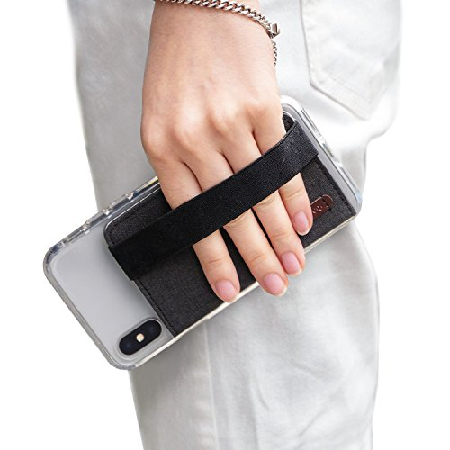 Band Dual Card Phone - Ringke Flip Card Holder with Elastic Hand Strap [Charcoal Black] Slim Soft Band Grip Fashion Multi-Card Slot Wallet Credit Card Cash Mini Pouch Holder Attachment Compatible with Most Smartphones