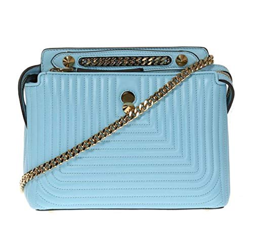Handbag Fendi Blue (Fendi Dotcom Click Blue Turquoise Small Quilted Lambskin Leather Chain Satchel Bag Gold Hardware 8BN299)