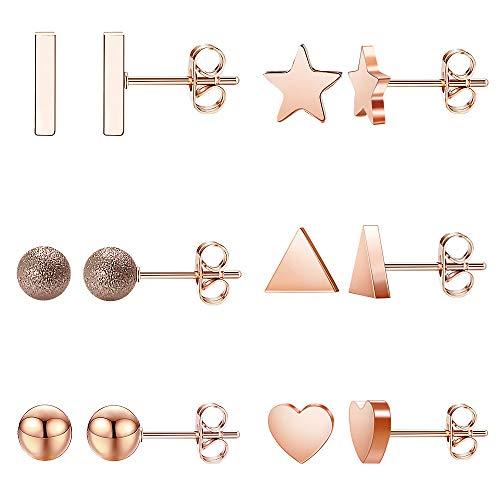 6 Pairs Stainless Steel Star Heart Stud Earrings, Cute Bar Ball Earring Rose Gold Hypoallergenic Earring Set