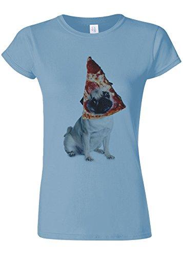 舌な息苦しい請求可能Pizza Pug Cute Dog Animal Novelty Light Blue Women T Shirt Top-M
