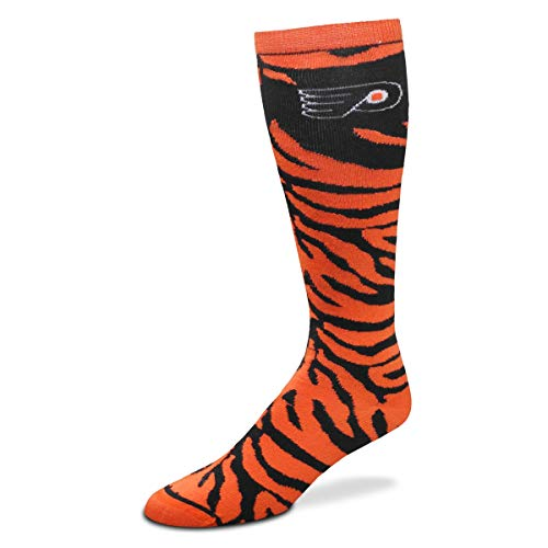 For Bare Feet NHL Ladies Zebra Print Knee High Socks-Philadelphia Flyers-Medium