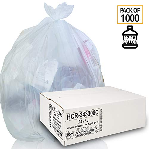 Aluf Plastics 12-16 Gallon Clear Trash Bags (1000 Count) - 24' x 33' - 8 Micron Equivalent High Density Value Garbage Bags for Bathroom, Office, Industrial, Commercial, Janitorial, Recycling from Aluf Plastics