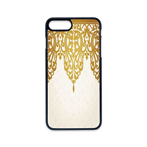 Phone Case Compatible with iPhone7 plus iPhone8 plus 2D print Black edge,Antique Decor,Victorian Style Medieval Motifs with Classic Baroque Oriental Decorating Shapes Print,Golden Cream,Hard Plastic -