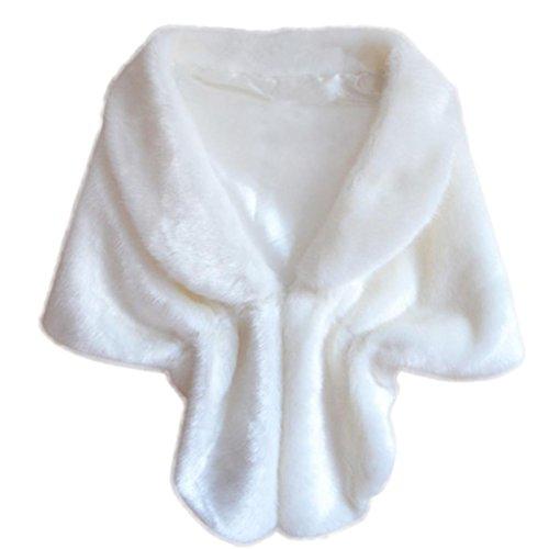 Sunward Women's Warm Faux Fur Wedding Shawl Perfect for Wedding/party/show (White, 57.111.8'') by Sunward