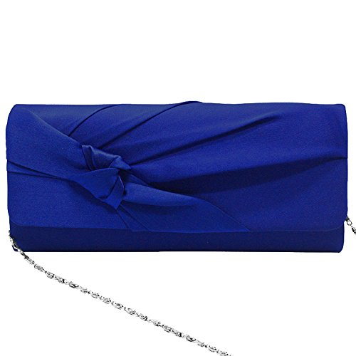 Royal Satin Red Floral Ladies Shoulder Evening Design Clutch Bag Handbag Wiwsi Purse Blue Chain 7q1xw55