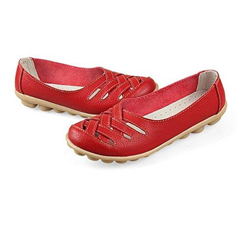 Advogue Damen Mokassin Leder Loafers Fahren Schuhe Comfort Freizeit Flache Schuhe Rot