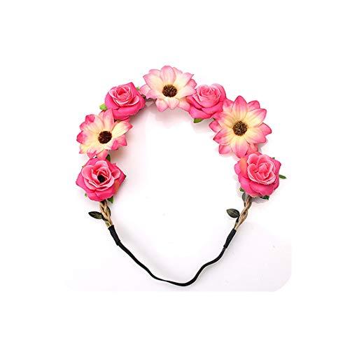 Women Bridal Garland Accessories Handmade Wreath Headdress Wedding Headpiece Flower Hair Band Headband for Girl Female,H1,Size fits All (Eden Bridals Flower Girl Dresses)
