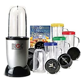 Magic Bullet MBR-1701 17-Piece Express Mixing Set 42 17-piece high-speed mixing system chops, whips, blends, and more. Cups are made out of high-impact plastic Includes power base, 2 blades, 2 cups, 4 mugs, 4 colored comfort lip rings, 2 sealed lids, 2 vented lids, and recipe book Durable see-through construction; press down for results in 10 seconds or less
