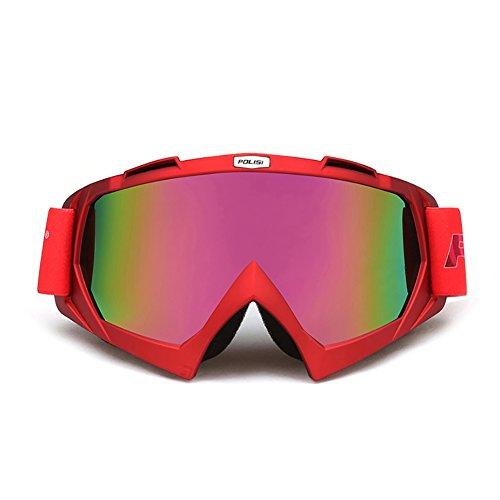 SE7VEN Lunettes Pour Les Sports D'hiver,Anti Brouillard Snowboard Goggles Sphérique Réglable Unisexe Plus De Lunettes rouge