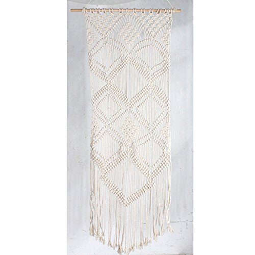 (Time Concept Festa Macrame Hanging Tapestry - Long - Cream Braided Cotton Fabric, Bohemian Style Home Décor)