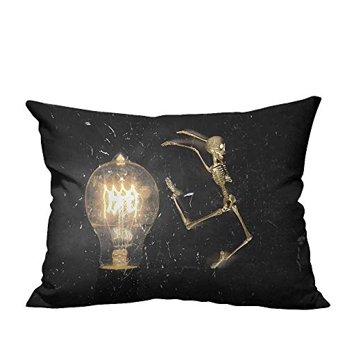 (YouXianHome Super Soft Pillowcase Horrifying Vintage Halloween Themed Skeleton Jumping Past Lightbulb Resists Wrinkles(Double-Sided Printing) 19.5x54)